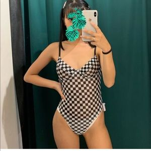Hollywood Boutique Checkered body suit